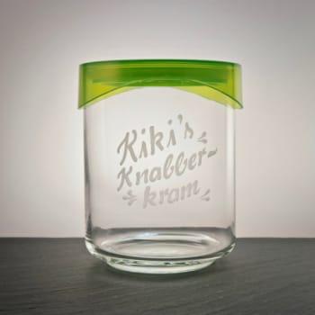 Vorratsdose aus Glas mit grünem Kuststoffdeckel inkl.Gravur