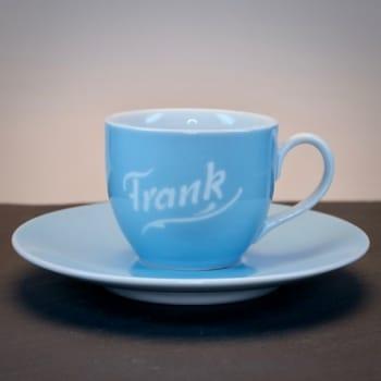 "Gravierte Espressotasse ""Hellblau"""