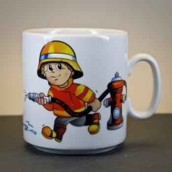Kindertasse Feuerwehrmann mit Namensgravur
