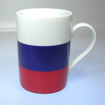 Flaggetasse Rußland mit Gravur
