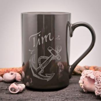 Kaffeetasse Grau mit Anker und Namen graviert