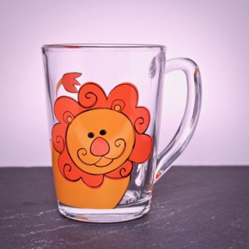 Kinderbecher Glas mit Löwenmotiv