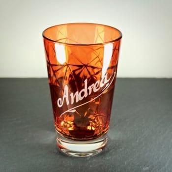 Rotes Longdrinkglas Dolomiti mit Gravur