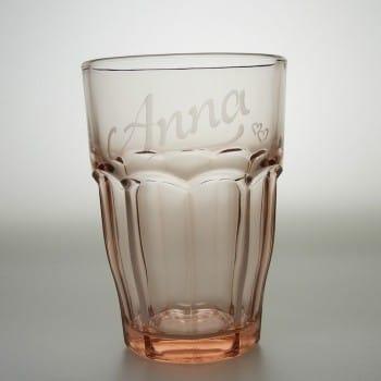 Trinkglas Rose mit Namen graviert