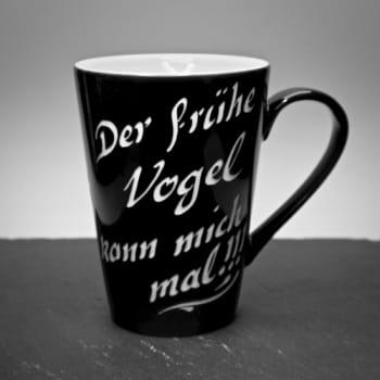 """Porzellantasse Big """"Schwarz mit Textgravur"""