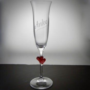 Sektglas Herz mit Gravur/Namen