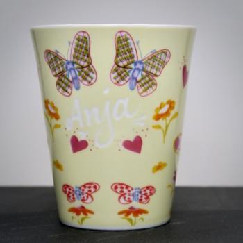 Tasse Schmetterlinge Gelb mit Namensgravur