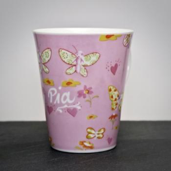 Tasse Schmetterlinge Rosa mit Namensgravur