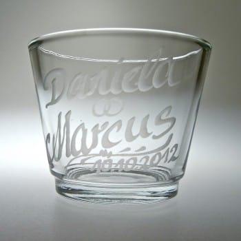 Teelichtglas mit Gravur