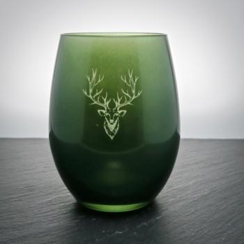 eelichtglas Grün mit Hirsch graviert