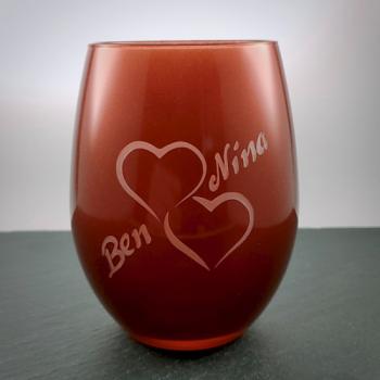 Teelichtglas Rot mit Herzmotiv und Namen graviert personalisierbar