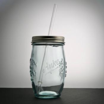 Trinkglas Natural mit Deckel und Strohhalm