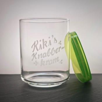 Glasdose mit grünem Kunststoffdeckel mit Gravur