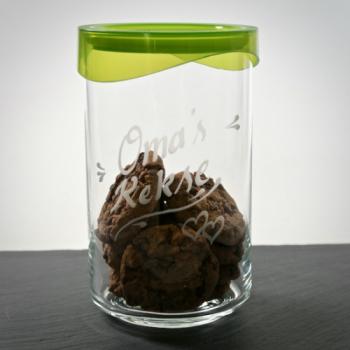 Vorratsdose aus Glas mit Kunststoffdeckel 1 Liter mit Gravur