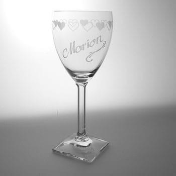 Weinglas Herz mit Gravur