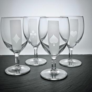 Weinglas-Set Napoli mit Poker-Motiven graviert