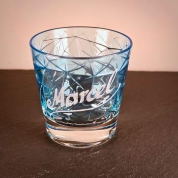 """Whiskybecher """"Dolomiti"""" Hellblau mit Namen graviert"""
