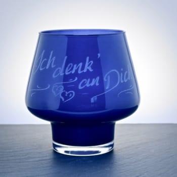 Windlicht Glas Blau mit personalisierter Gravur