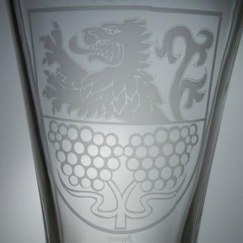 Bierstiefel 2 Liter mit Wappengravur