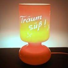 """Nachttischlampe aus Glas mit Gravur """"Orange"""""""