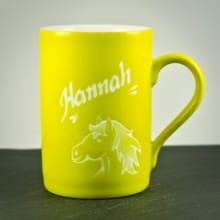 Porzellantasse Gelb mit Pferdekopf