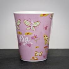 "Tasse""Schmetterlinge"" Rosa mit Gravur"