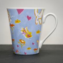 Tasse Schmetterlinge Hellblau Seitenansicht