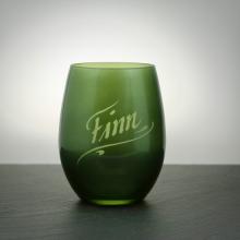 Teelichtglas Grün mit Namensgravur
