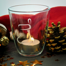 """Teelichtglas """"Nikolausstiefel"""" mit Gravur"""