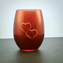 Teelichtglas Rot mit Herzmotiv graviert personalisierbar