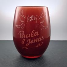 """Teelichtglas """"Tauben&Ringe"""" Rot"""