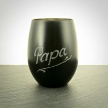 Teelichtglas Schwarz mit Namensgravur