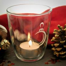 """Teelichtglas """"Weihnachtsbaumkugel"""" mit Gravur"""